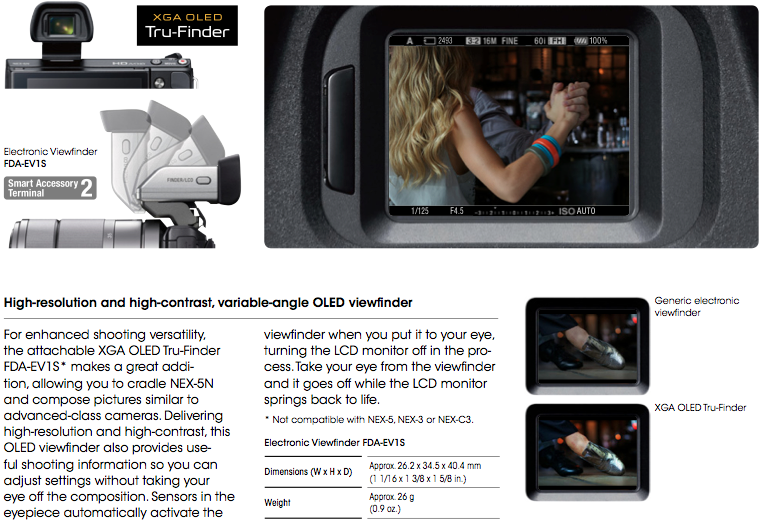 sony nex-5n viewfinder brochure download