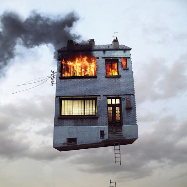 Casas,voladoras,Laurent Chehere,Fying,houses,francia,france,paris,19th, 20th,arrondissement,fuego,fire,windows,ventanas