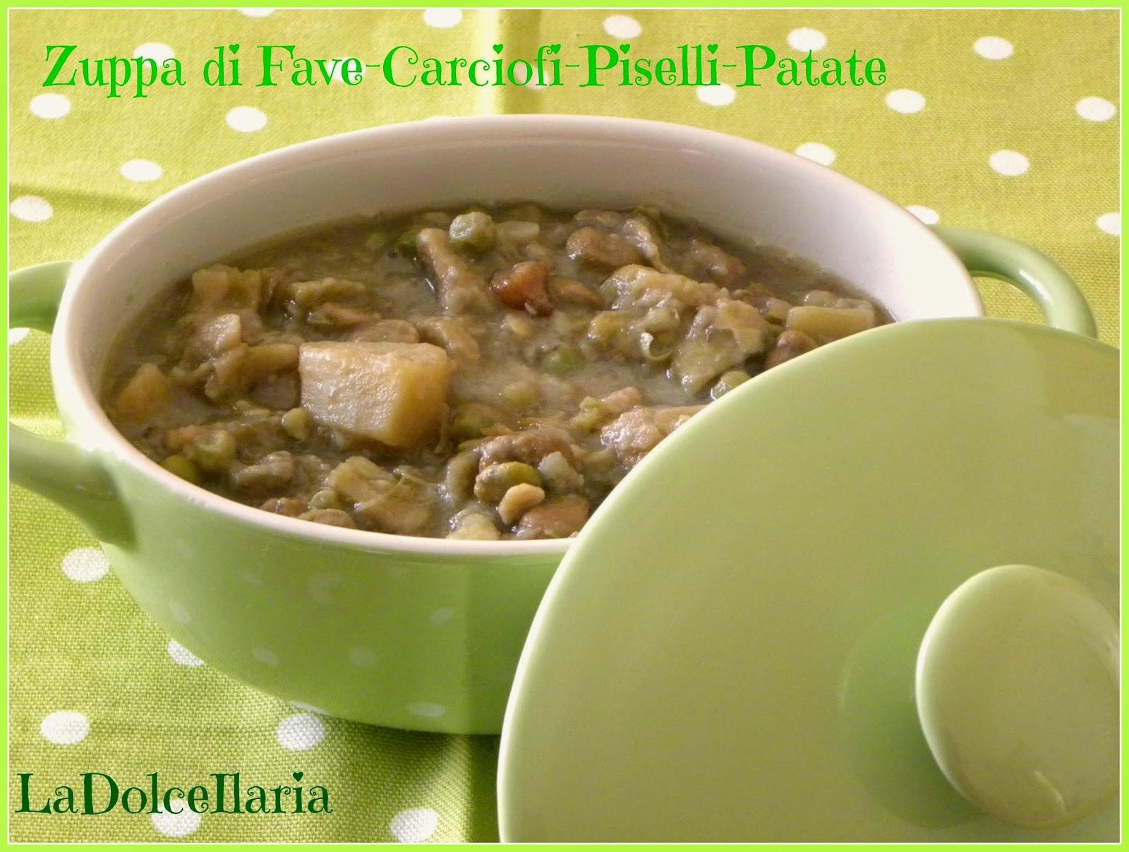 zuppa di fave-carciofi-piselli-patate