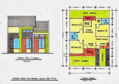 contoh desain denah rumah 3 kamar blog koleksi desain rumah