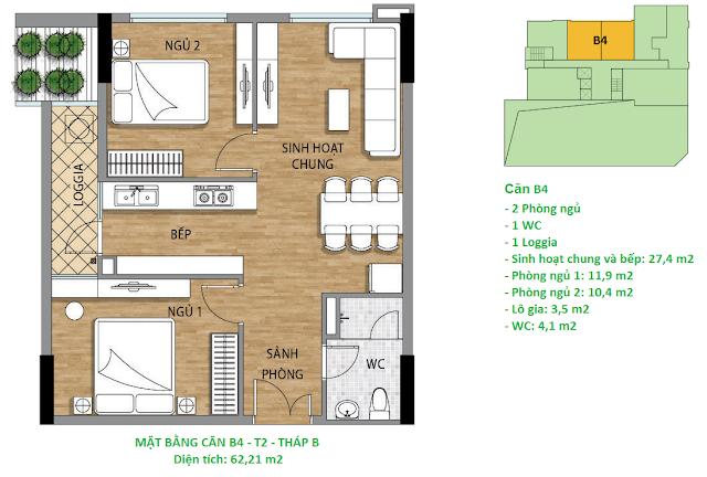 Căn hộ B4 diện tích 62,21 m2 tầng 2 Valencia Garden