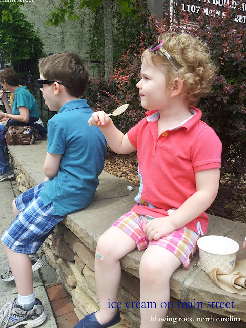 ice cream on main street in Blowing Rock, N.C.