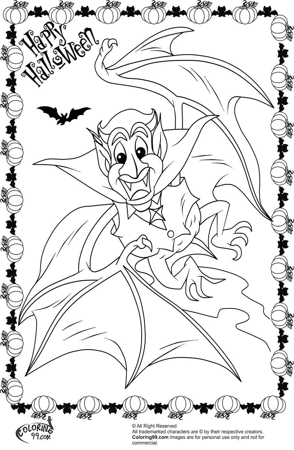 Halloween Dracula Coloring Pages