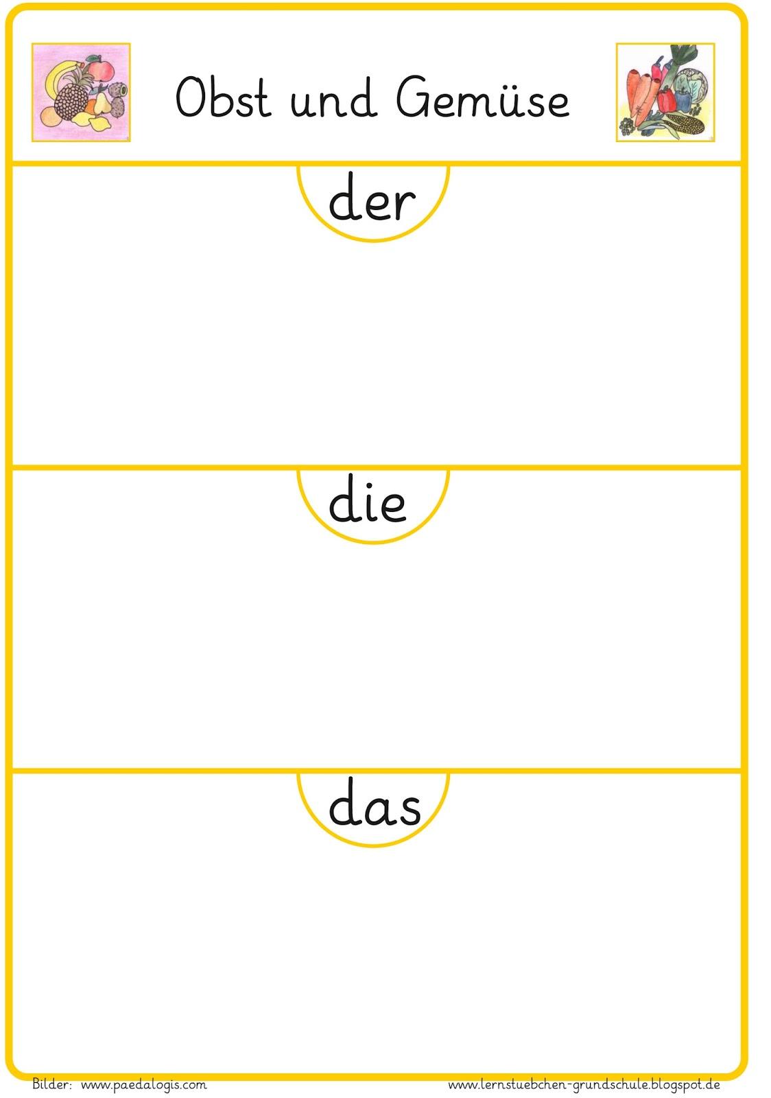 Arbeitsblatt Kunst Klasse 1 : Lernstübchen obst oder gemüse