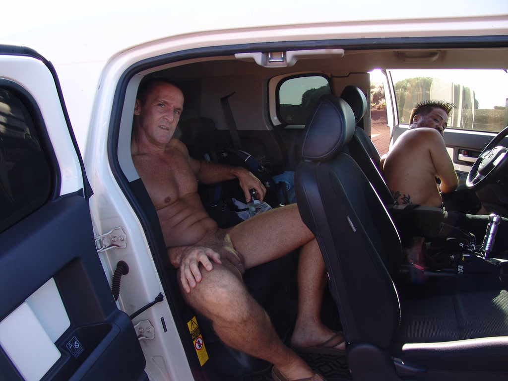 nude men with cars