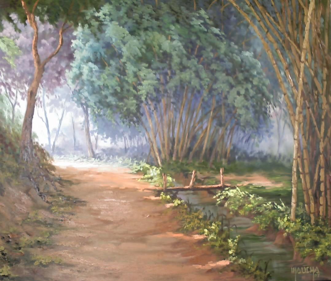 """""""Caminho ensolarado"""" (óleo s/ tela - 40x56 - pintado em dezembro 2007)"""