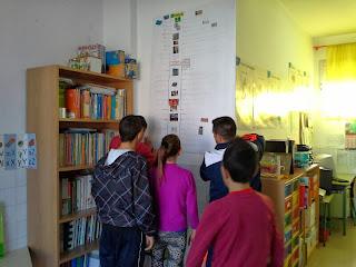 Los alumnos miran la línea del tiempo ya colocada en la pared