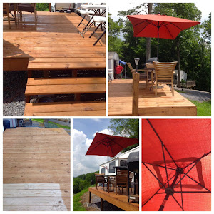 The deck and umbrella