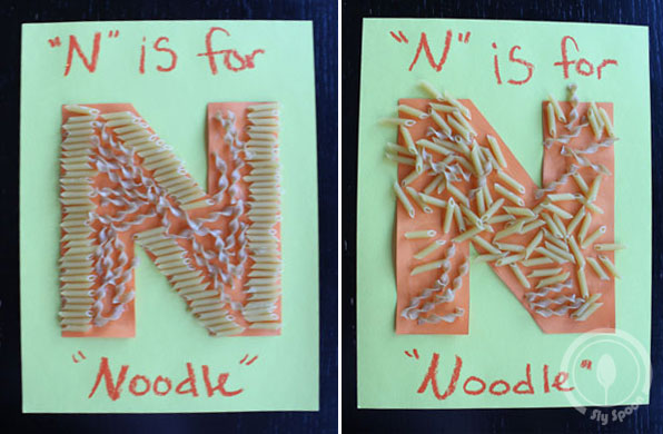 Toddler/Preshooler letter of the week craft N is for Noodle with related craft, tracing sheets and fruits/vegetables.
