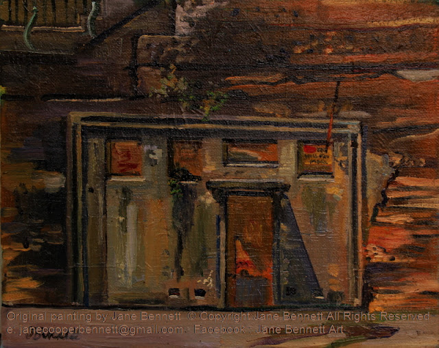 plein air oil painting of the escarpment of historic Maritime Services Board amenities block Hickson Road and stairs to High Street Millers Point by heritage artist Jane Bennett
