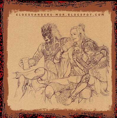 Dibujo para la escena ilustrada de los protagonistas del juego de Cartas de ÉPICA realizada por ªRU-MOR