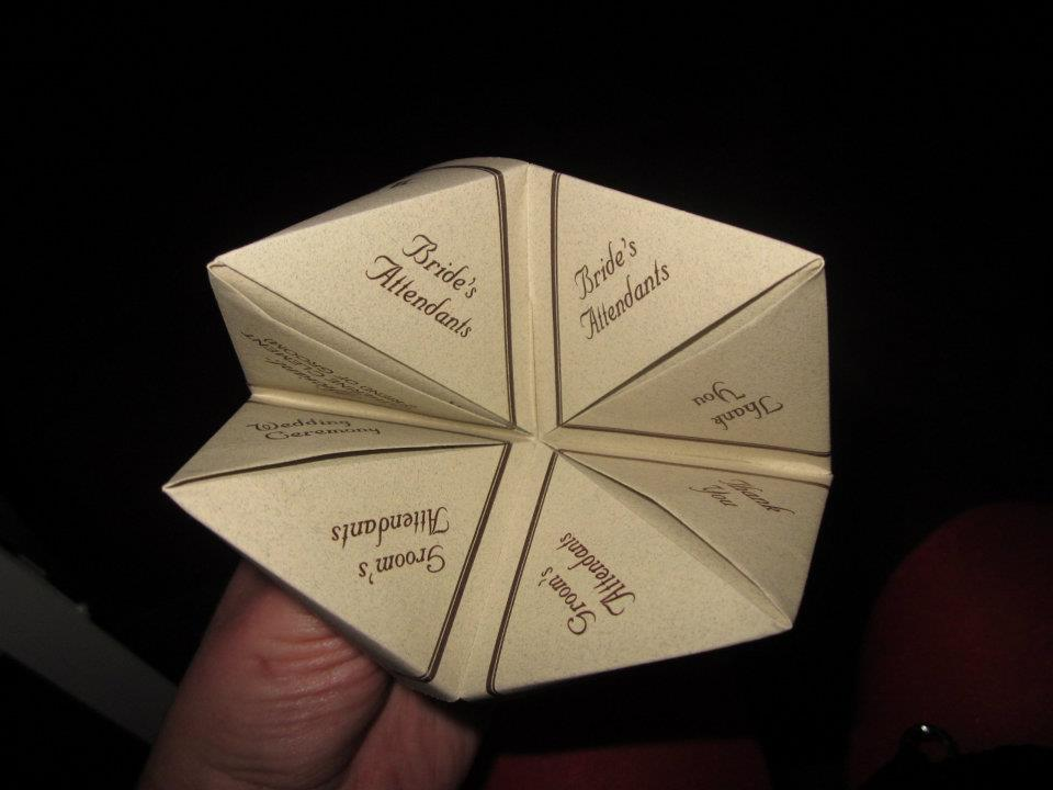 In And Around Town Cootie Catcher Wedding Programs
