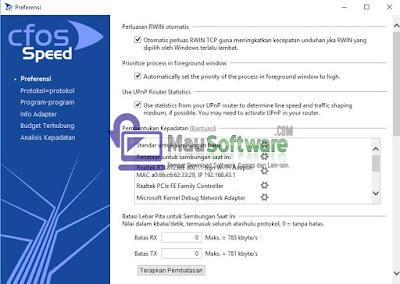 software untuk menstabilkan koneksi dan memperkecil ping yaitu cFosSpeed