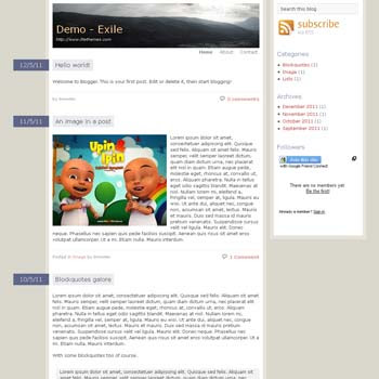 Exile Blogger Template convert from wordpress theme to blogger. minimalist design blogspot template