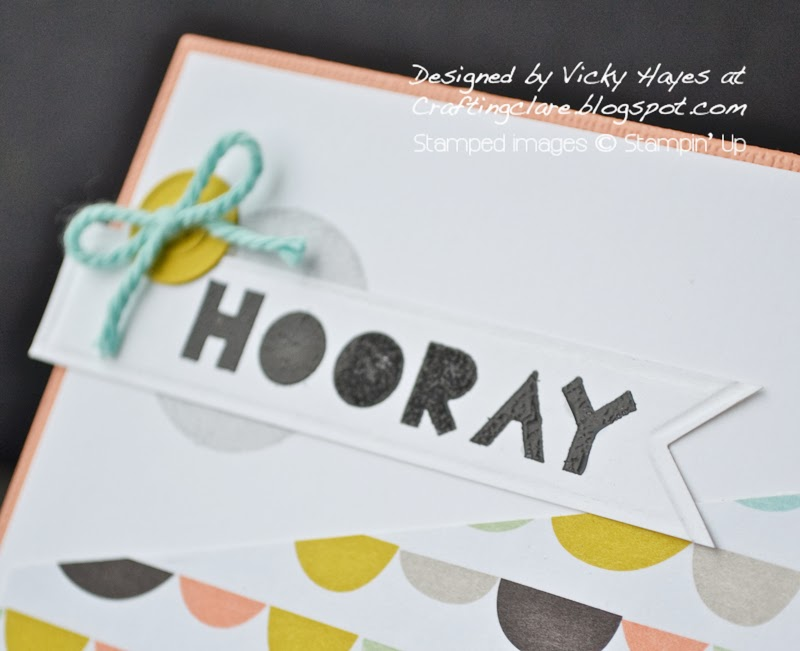 Banner made with Geometrical from Stampin' Up and using Simply Scored at Crafting Clare's paper moments