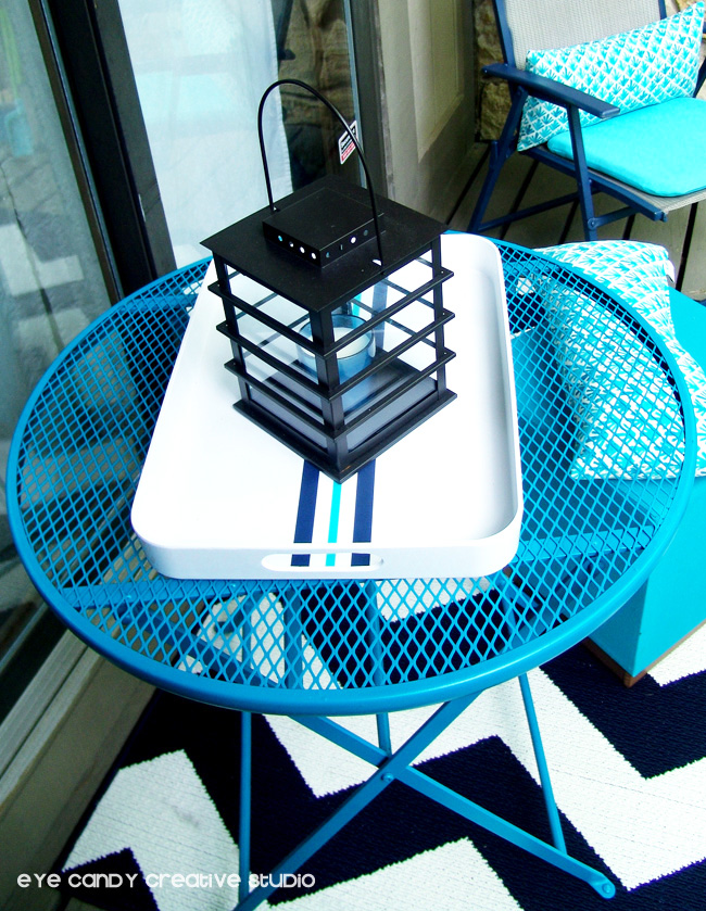 patio table makeover, Valspar spray paint, aqua patio table, condo
