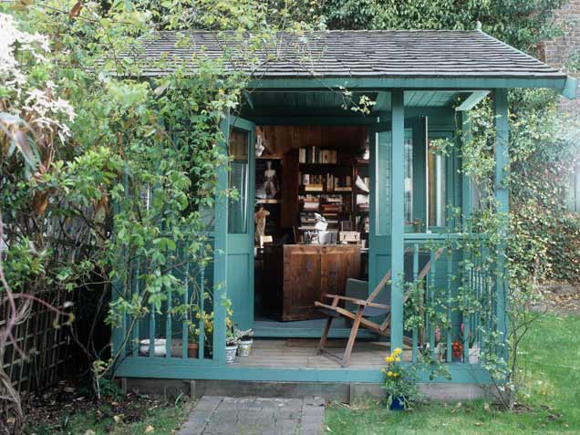Vignette design tuesday inspiration the backyard cottage for Outside office shed
