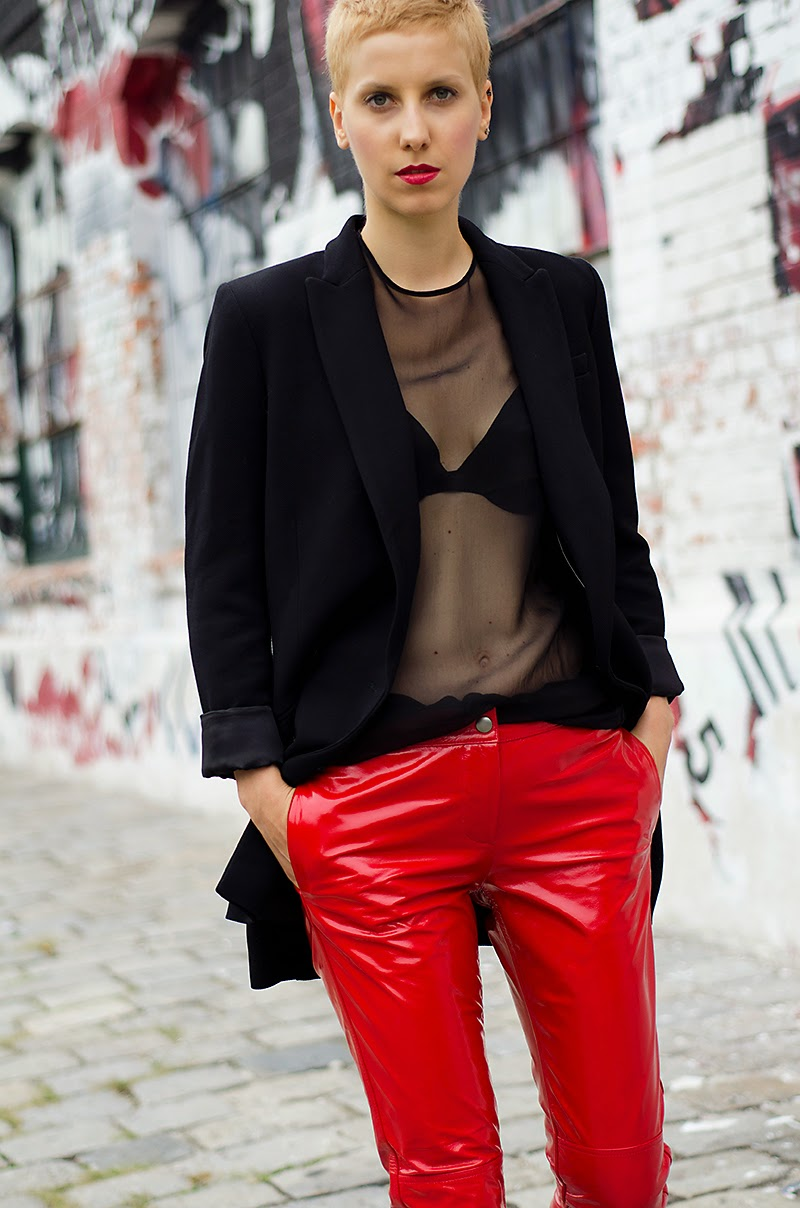 H&M studio aw14 red leather pants beeswonderland