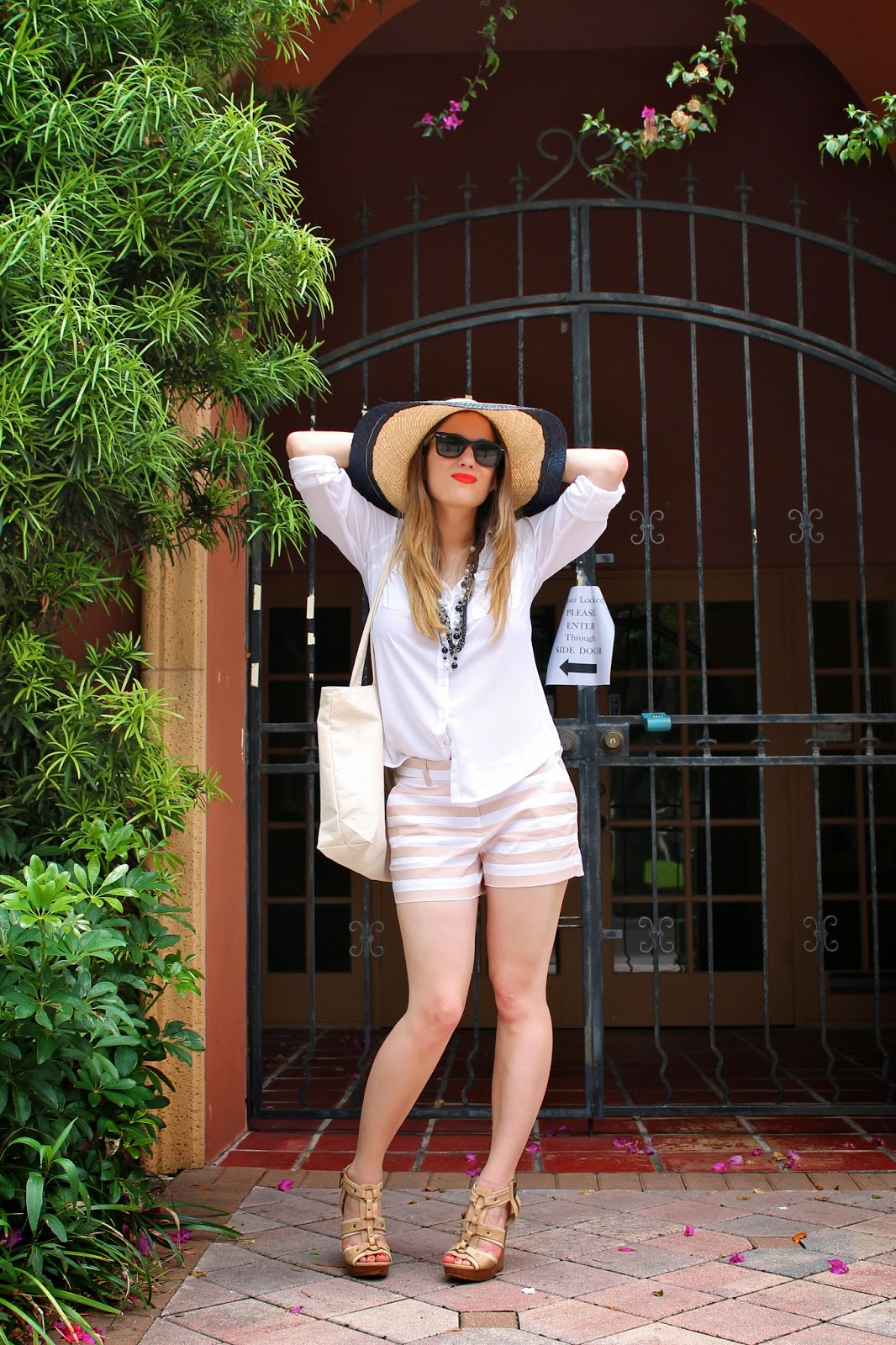 Gap, Express, Chanel, Aldo, Ray-Ban, Miami fashion blogger, fashion blog, style blog, street style, classic, stripes, sunhat, summer style, Gap Lincoln Road