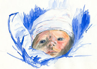 watercolor sketch of first born, by John Huisman, http://huismanconcepts.com/
