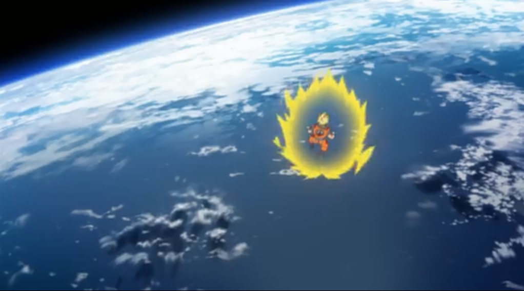 Son Goku defending the Earth against Lord Bills