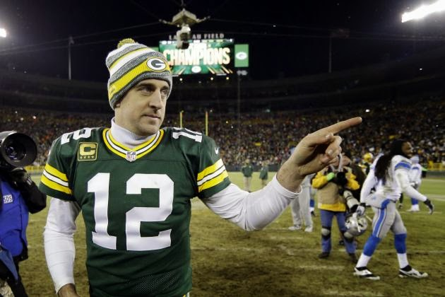 Aaron Rodgers celebrating a week 17 victory against the Detroit Lions