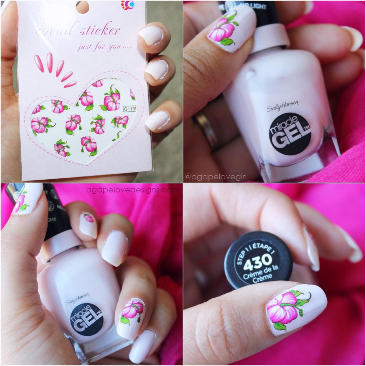 Agape Love Designs: Floral Mani | Sally Hansen Miracle Gel Polish Review