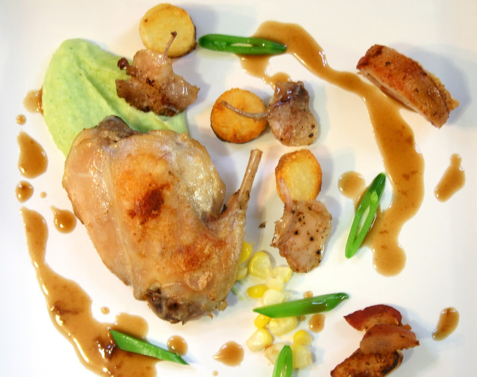 Sous Vide Rabbit, Confit Rabbit with a Rabbit Sauce, Corn, Potato and ...