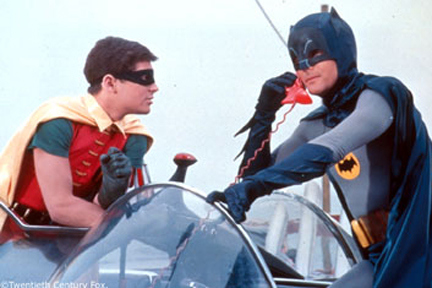 Adam West as Batman and Burt Young as Robin. Contact me page