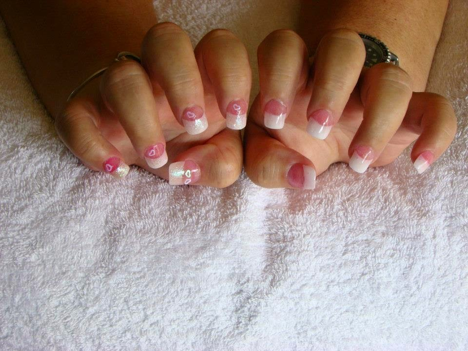 Acrylic-Sculpt-on-form-French-White-Tip-and-Custom-Mix-Neon-Pink-beautiful-nail-art