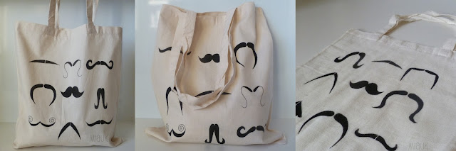 malovaná taška s kníry