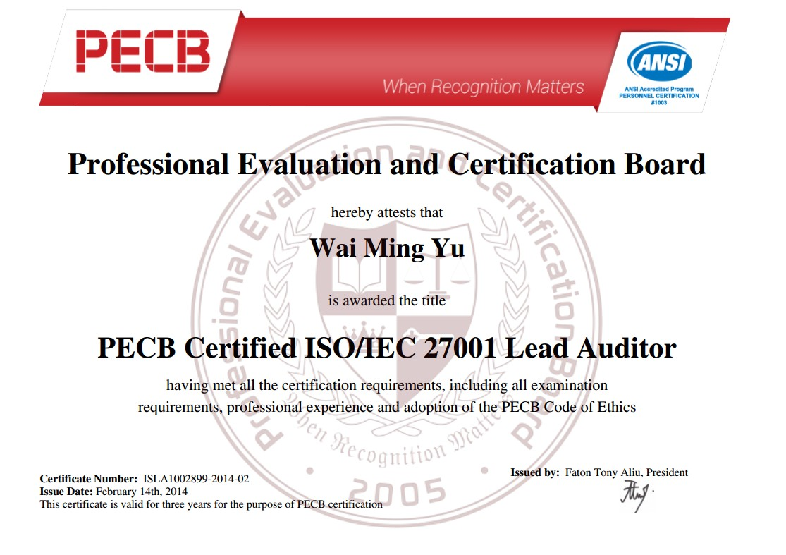Great learning education centre pecb iso 27001 lead auditor certificate ansi 17024 1betcityfo Choice Image