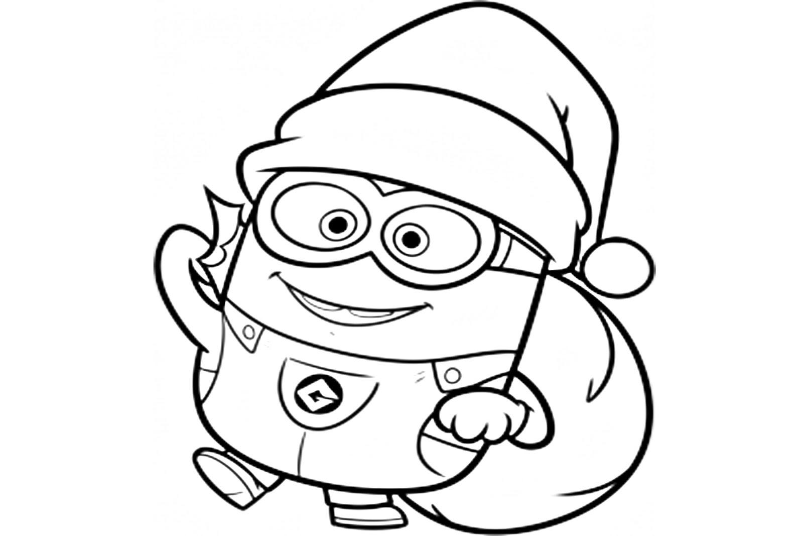 Minion navideño para colorear