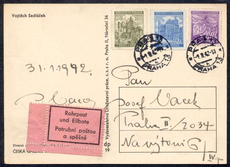 OJEDINĚLÝ POŠTOVNĚ-HISTORICKÝ MATERIÁL Z OBDOBÍ PROTEKTORÁTU ČECHY A MORAVA (1939-1945)