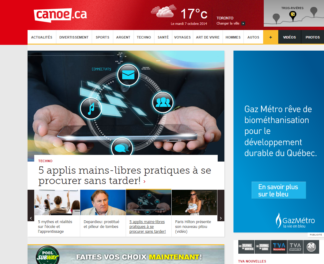 BigCityLib Strikes Back: Canoe.ca All In French?