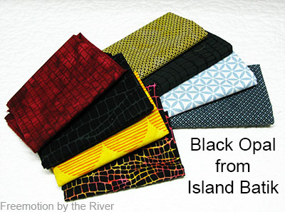 Black Opal fabric group from Island Batik