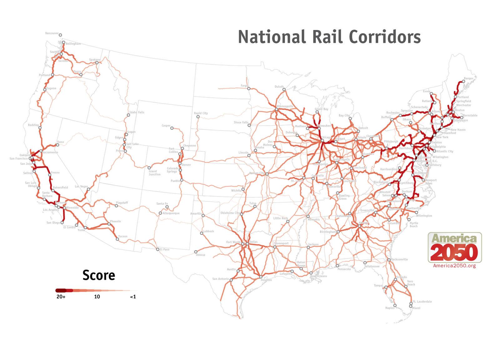 Our Maps America  Tracking Growth In The US National USA Rail - Us canada rail map