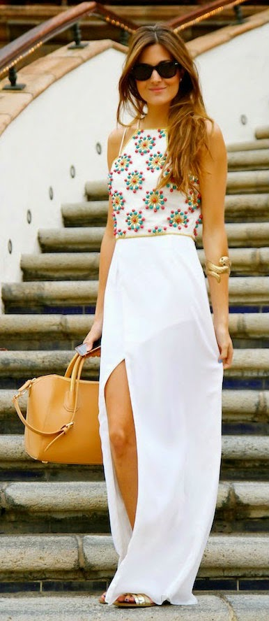 white summer mixi with top beaded blouse