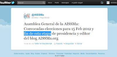 Tweet del 14/12/11, que adelanta el cierre de etapa de la actual presidencia de la AISSMa