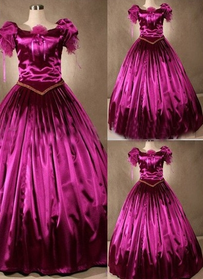 Gorgeous Fuchsia Short Sleeves Gothic Victorian Dress