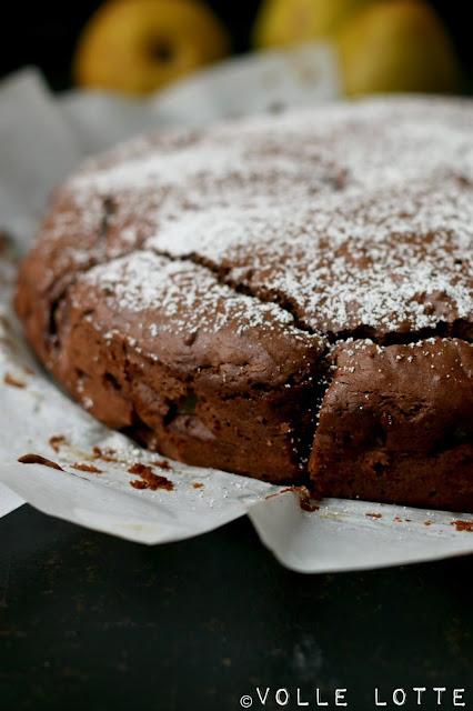 Schoko, Kakao, backen, Kuchen, Herbst, Birnen, Saftig, lecker