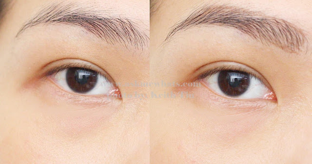 Before and after photo of using Tony Moly 7 Days Tattoo Eyebrows