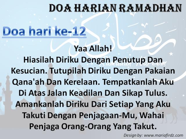 Doa Harian Bulan Ramadhan | Doa Hari Ke-12