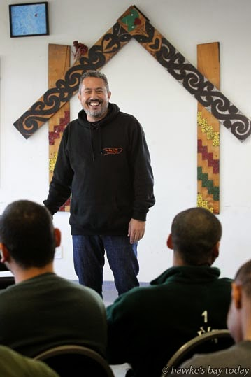 Mike King, comedian, talkback show host for The Nutters Club, speaking at the Youth Offenders Unit at Mangaroa Prison, Hawke's Bay Prison, Mangaroa, Hastings photograph