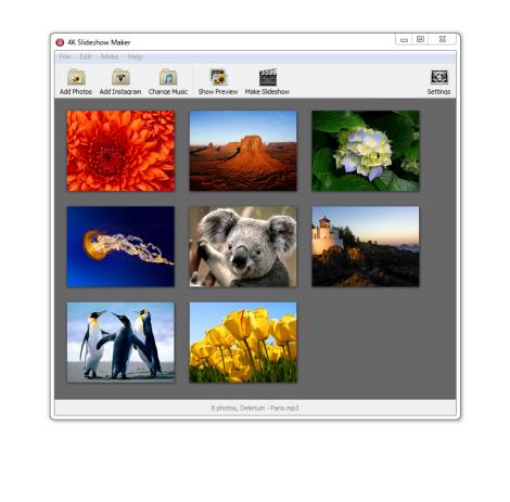 برنامج مجاني لإنشاء سلايد شو وعارض للصور والشرائح وإضافة الموسيقى والمؤثرات 4K Slideshow Maker Portable1.3