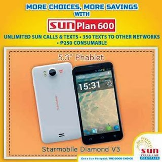 Sun Cellular offers Starmobile Diamond V3 free at Plan 600