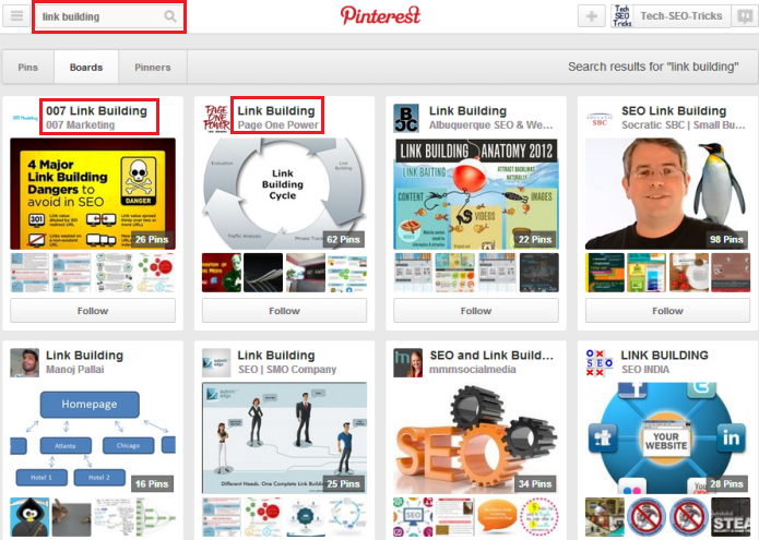 Pinterest Search page with different boards