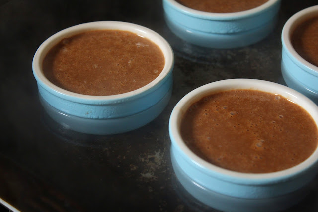 Creme Brulee in a Bain Marie with Pastel Blue Ramekins