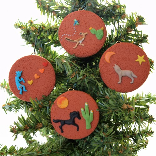 southwestern christmas ornaments from polymer clay with sedona arizona red rock dirt in matrix