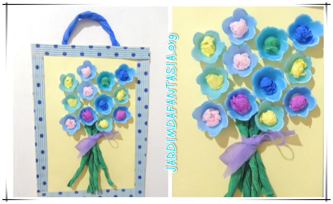 flores jardim primavera:Caixa de ovos, papel crepom de cores variadas,tesoura, cola, cartolina